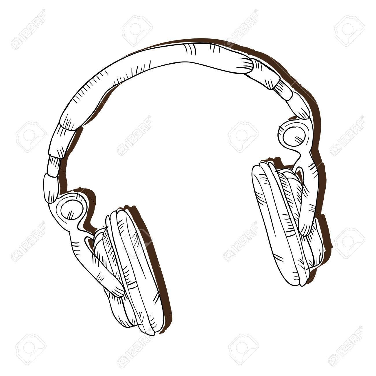Dessin Casque Audio musique gadget casque. dispositif d'écouteur audio. dessiner la