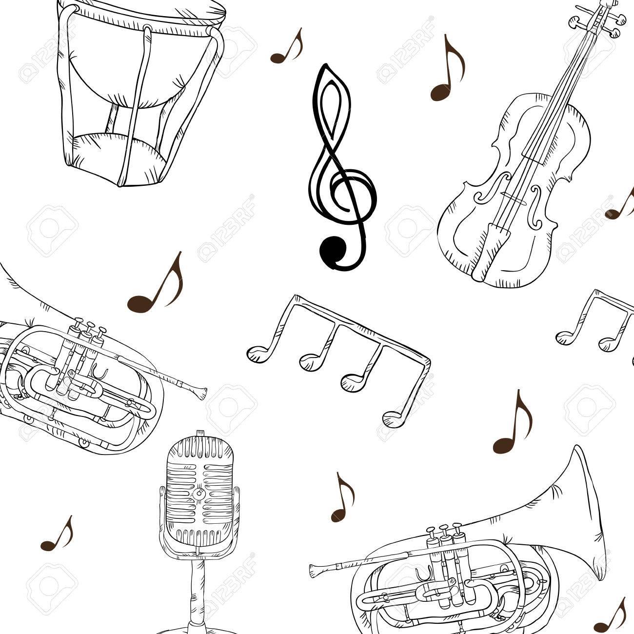 音楽トランペット ヴァイオリン マイクとドラムの楽器の背景音楽の壁紙