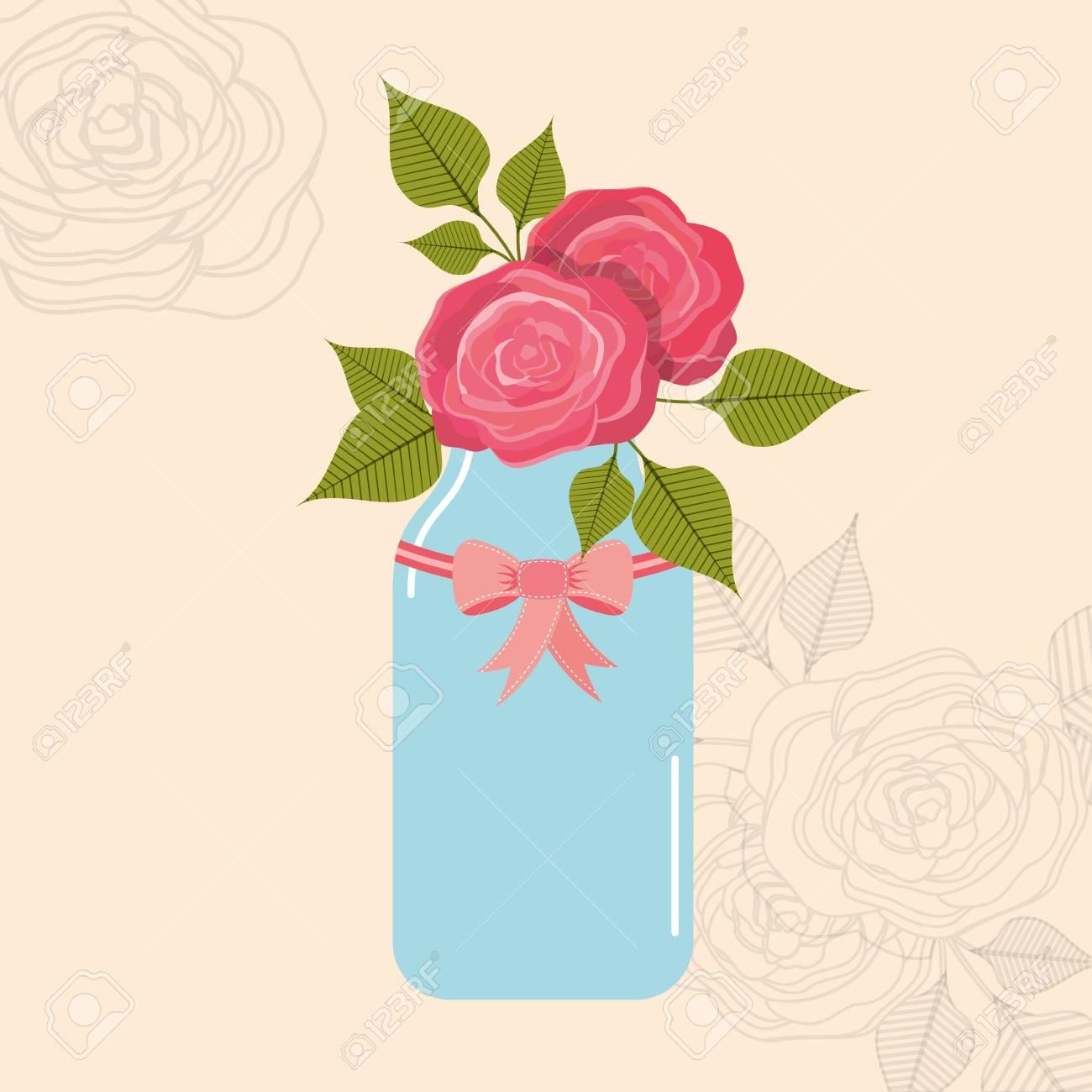 花飾りベクトル イラスト デザインと美しい石工の瓶のイラスト素材