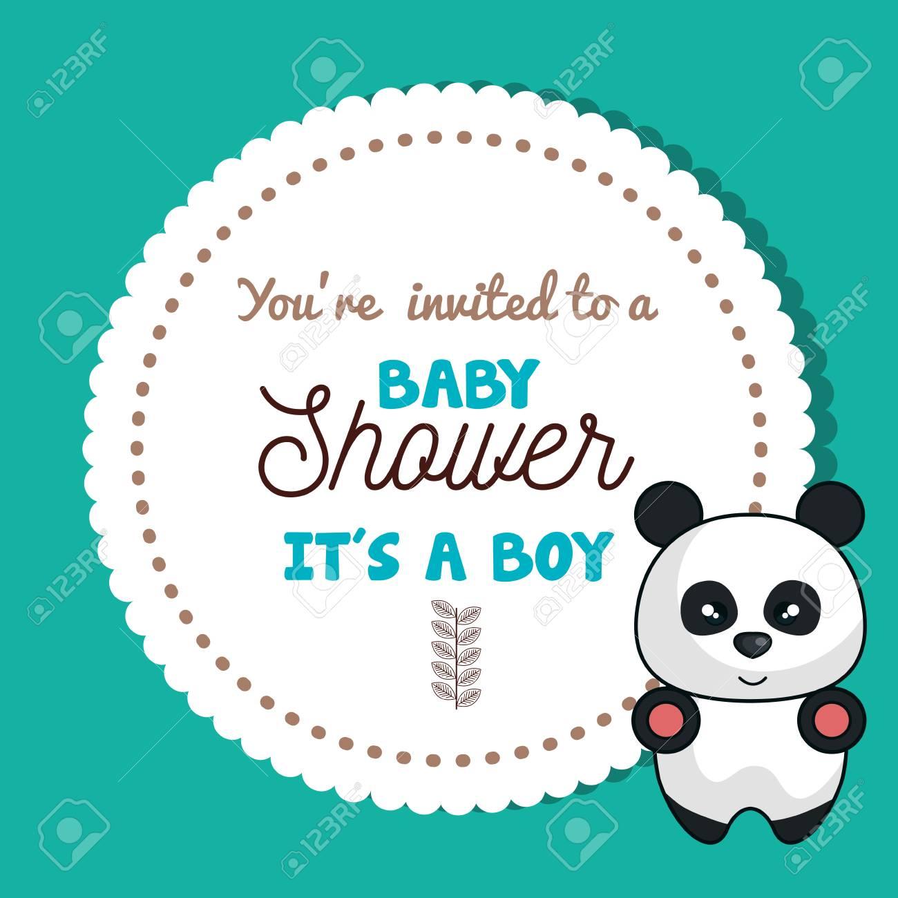 Baby shower invitation card with panda design vector illustration baby shower invitation card with panda design vector illustration eps 10 stock vector 62691123 filmwisefo