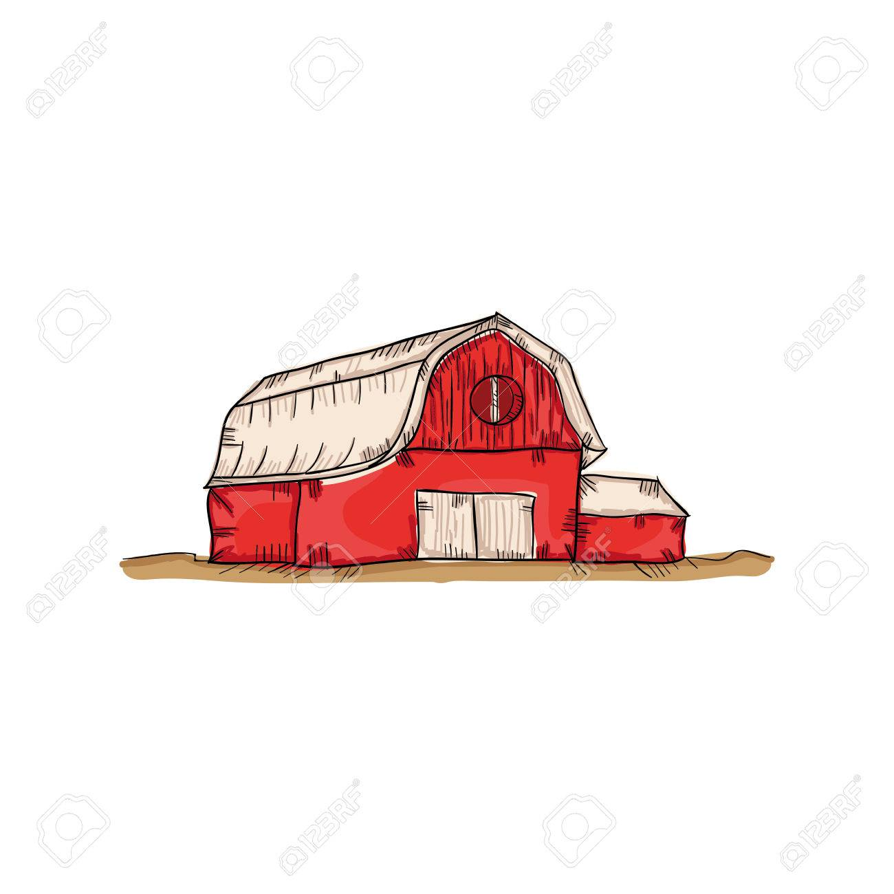 Red Farm Barn Building Drawn Design Vector Illustration Stock