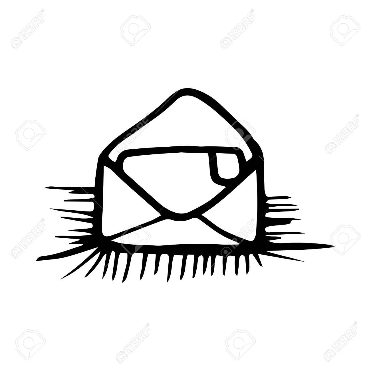 Open Envelope Mail Letter Drawn Design Vector Illustration Royalty