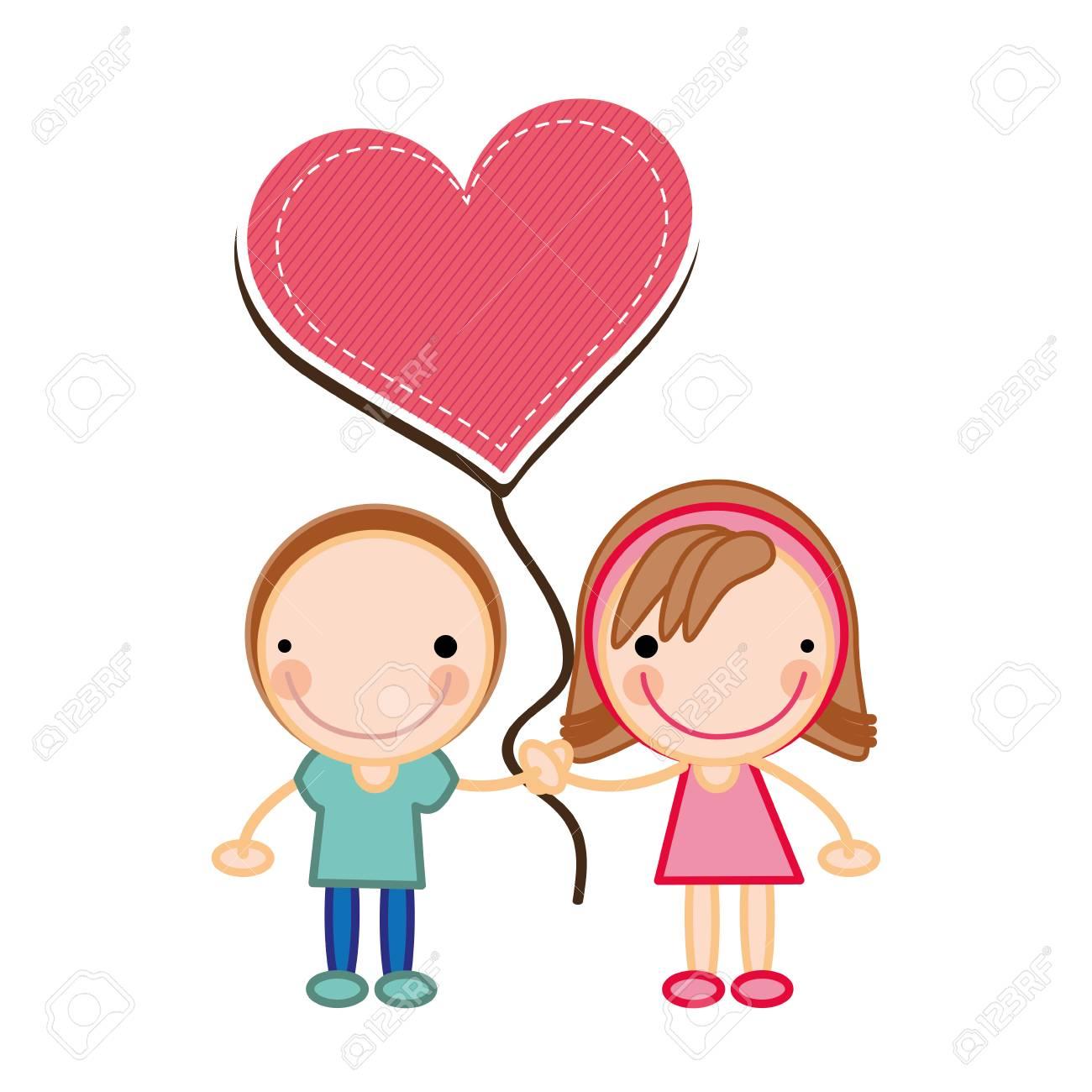 Relación Amor Pareja Feliz Caras Dibujos Animados Ilustración
