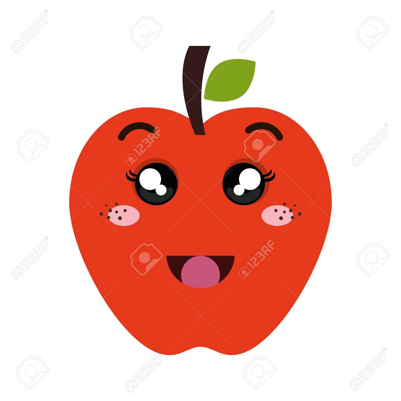 Comida De Fruta Manzana Roja Dibujos Animados Kawaii Con Cara De