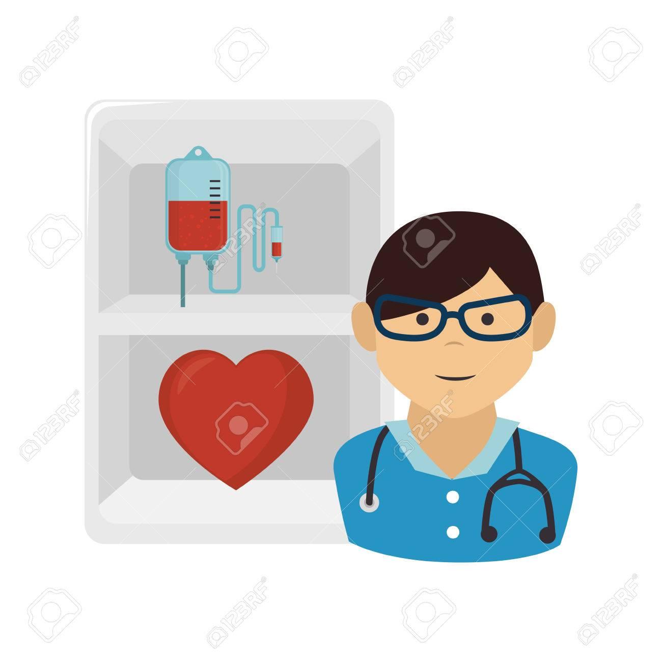 c53b72ebf6 Avatar homme médecin avec son stéthoscope et le c?ur rouge et sac de sang