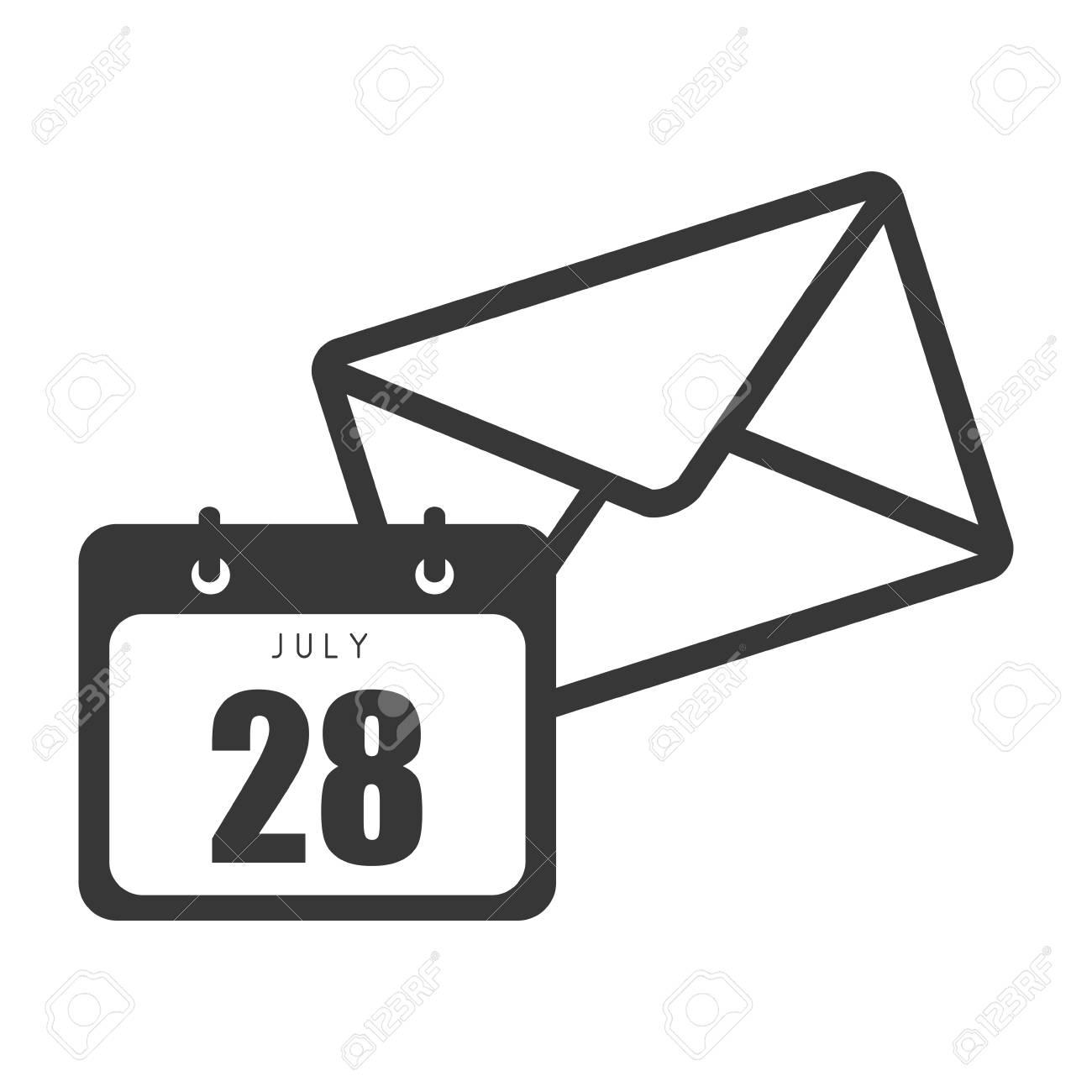 Courrier Et Calendrier.Icone De Courrier D Enveloppe Et Calendrier Avec Les Numeros De Mois Et De Jour Illustration Vectorielle