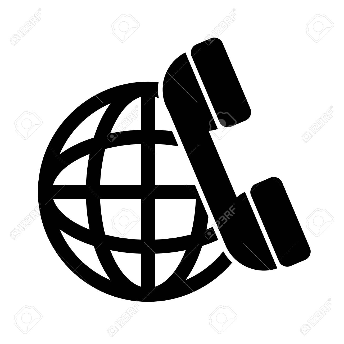 Sphere Global Network Connection And Telephone Headset Icon Royalty Free Cliparts Vectors And Stock Illustration Image 63023261