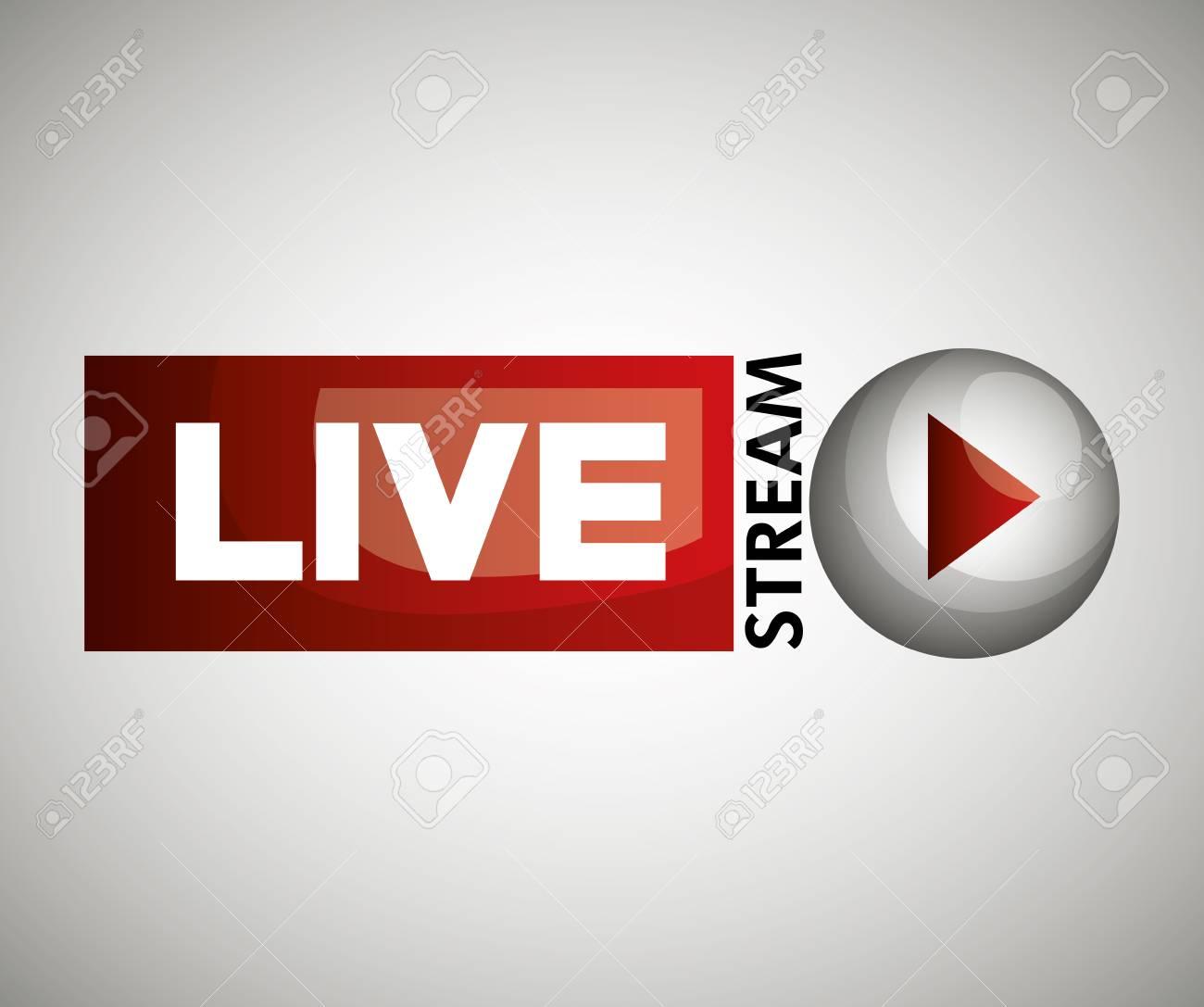 button icon live streaming design graphic vector illustration - 63080320