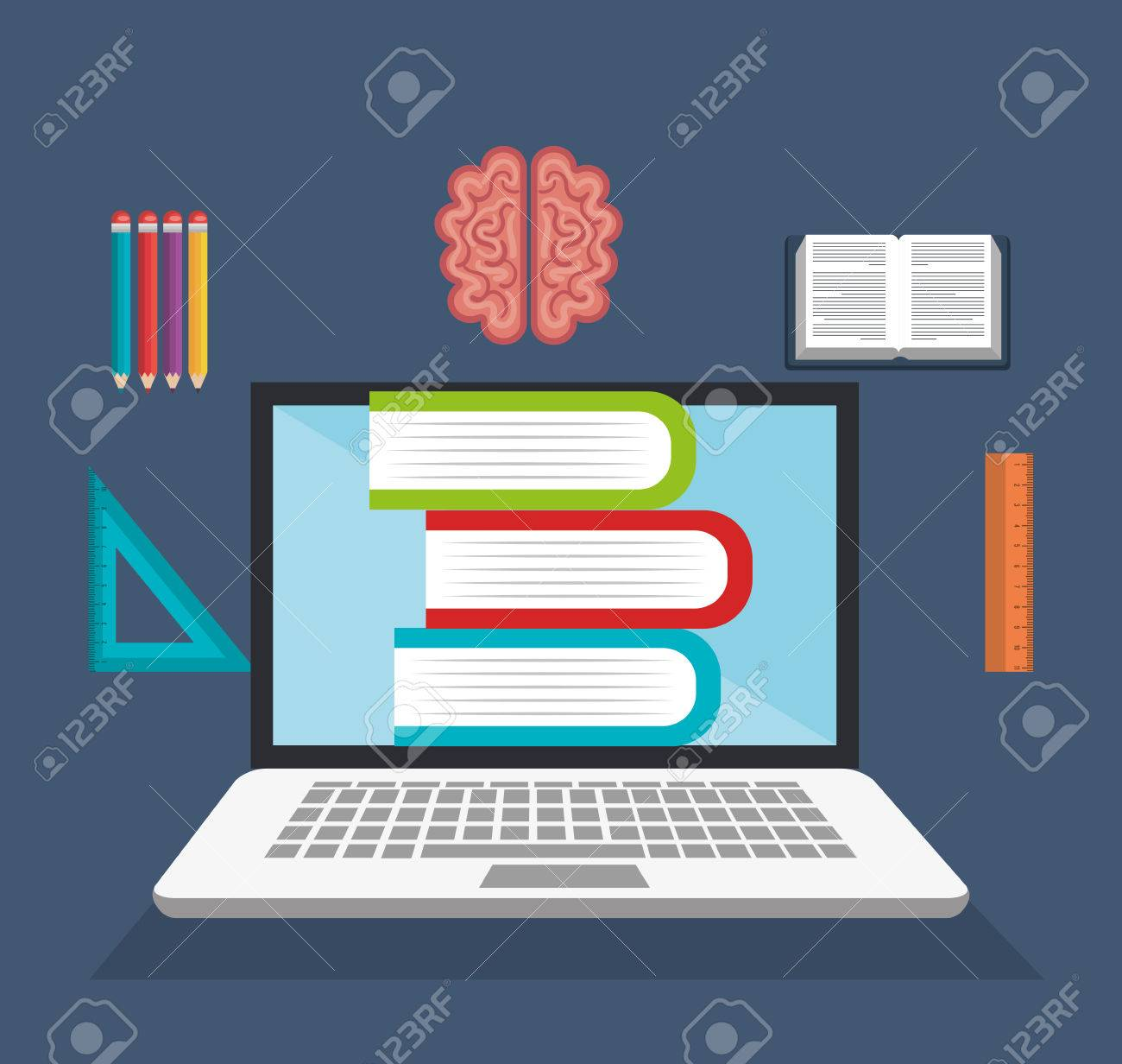 E Learning Library Virtual Education Online Design Graphic Vector Royalty Free Cliparts Vectors And Stock Illustration Image 63079201