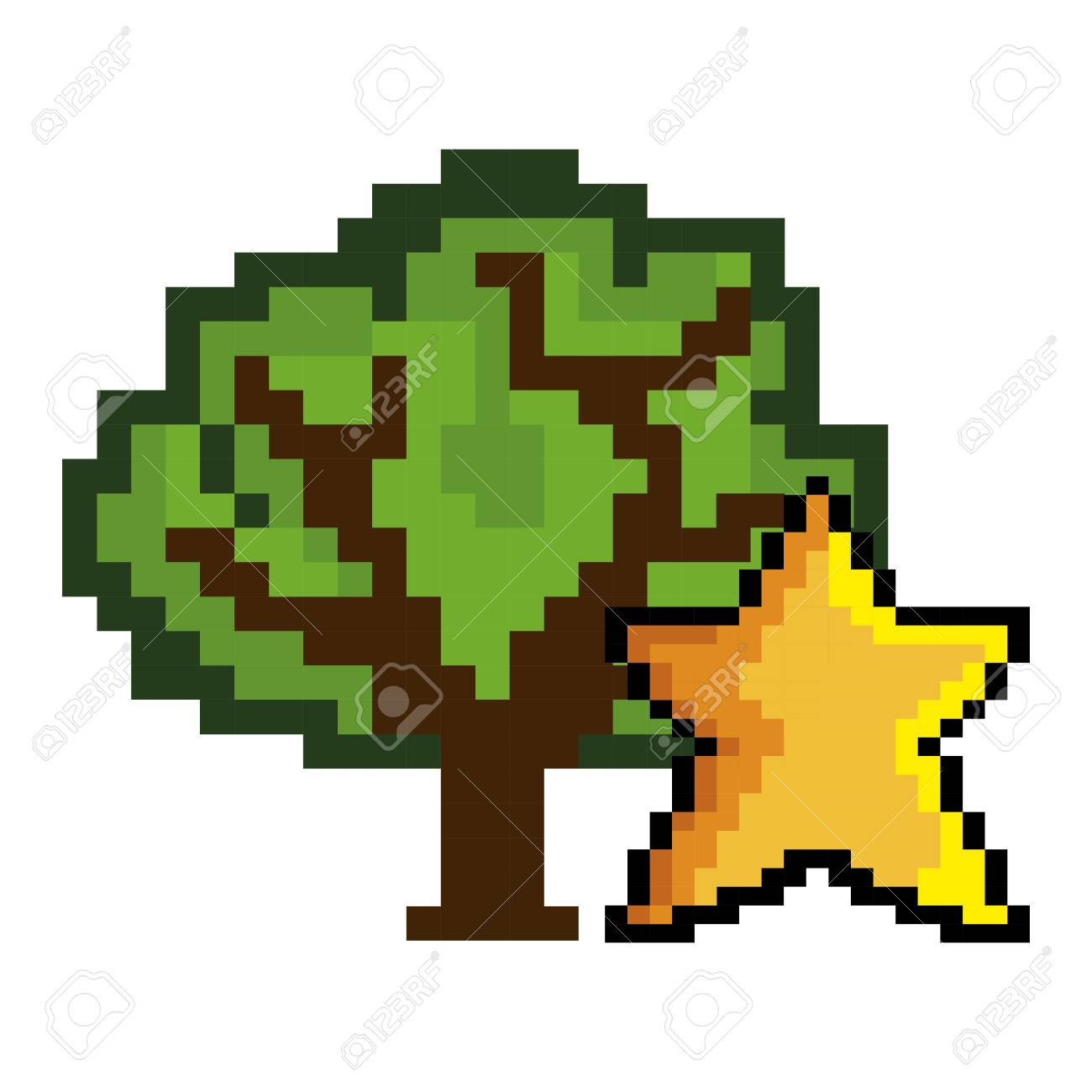Green Tree And Star Shape Pixel Video Game Figure Vector Illustration