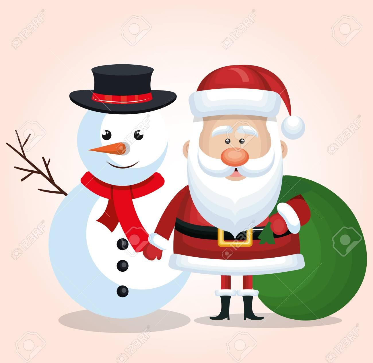 Frohe Weihnachten Schneemann Und Weihnachtsmann-Tasche Geschenk Grün ...