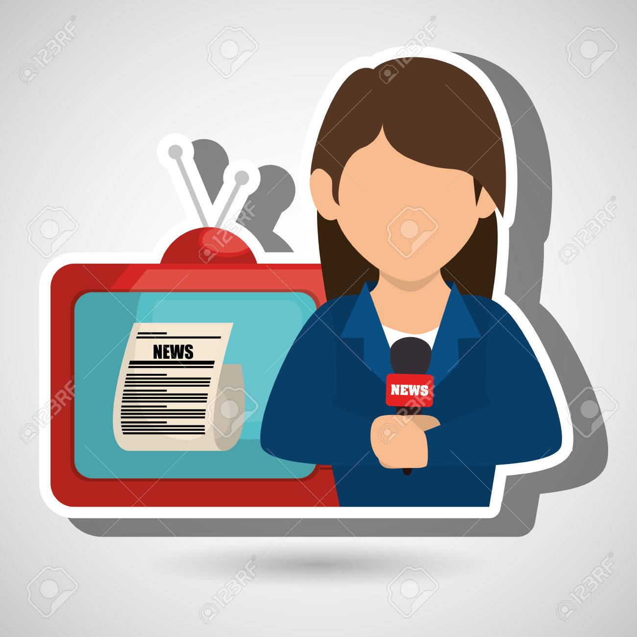 Woman Journalist News Tv Vector Illustration Royalty Free Cliparts