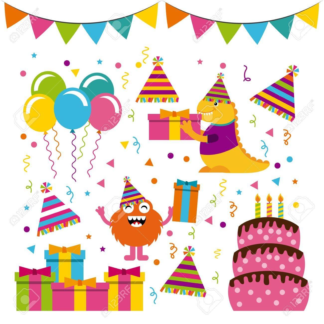 誕生日パーティーでモンスターの文字ベクトル イラスト デザインの