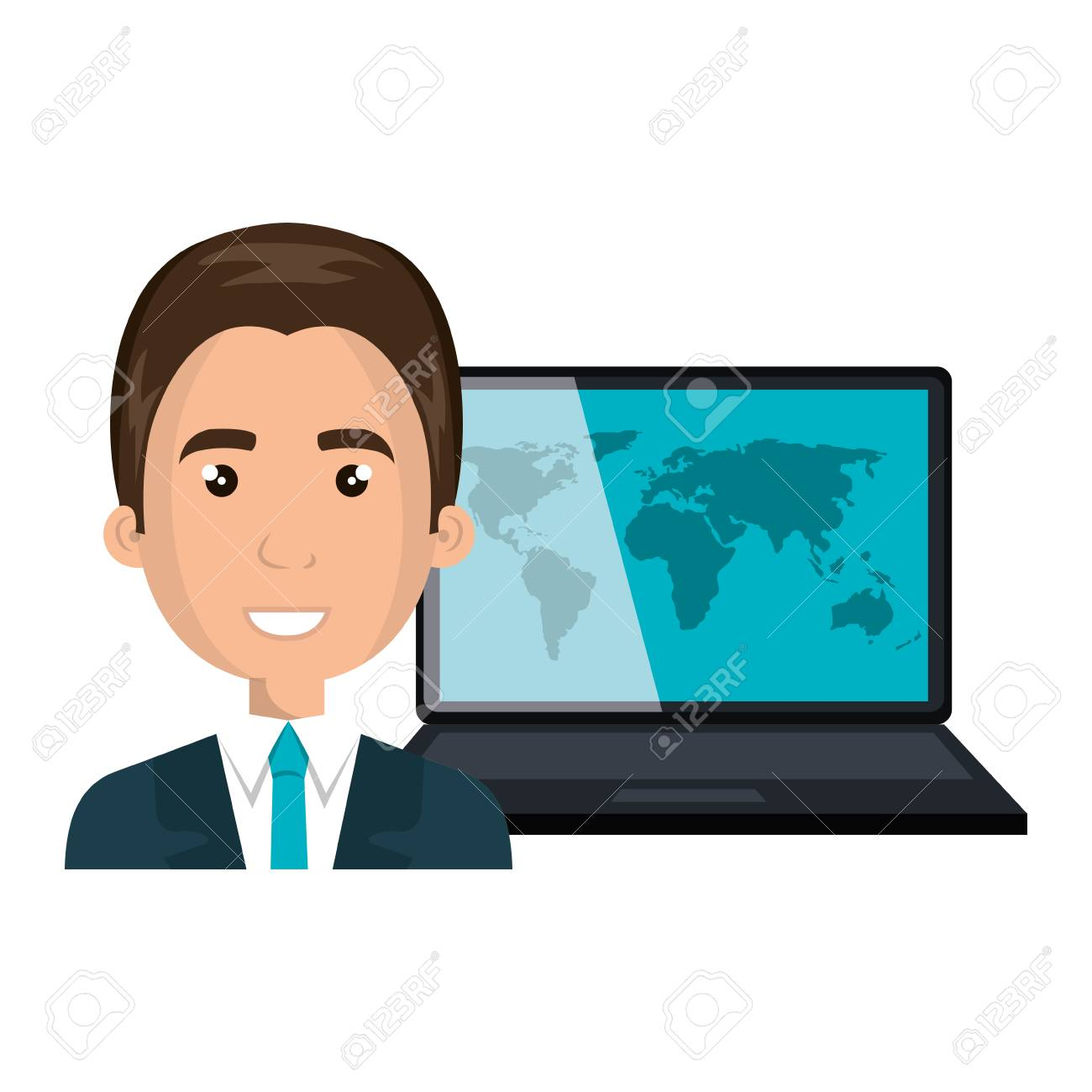 Avatar man smiling and laptop computer with world map wallpaper avatar man smiling and laptop computer with world map wallpaper vector illustration stock vector gumiabroncs Image collections