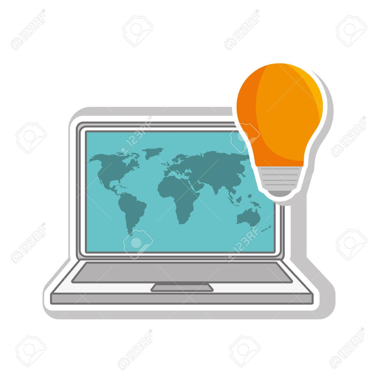 Laptop computer with world map wallpaper and bulb light icon laptop computer with world map wallpaper and bulb light icon vector illustration stock vector gumiabroncs Image collections