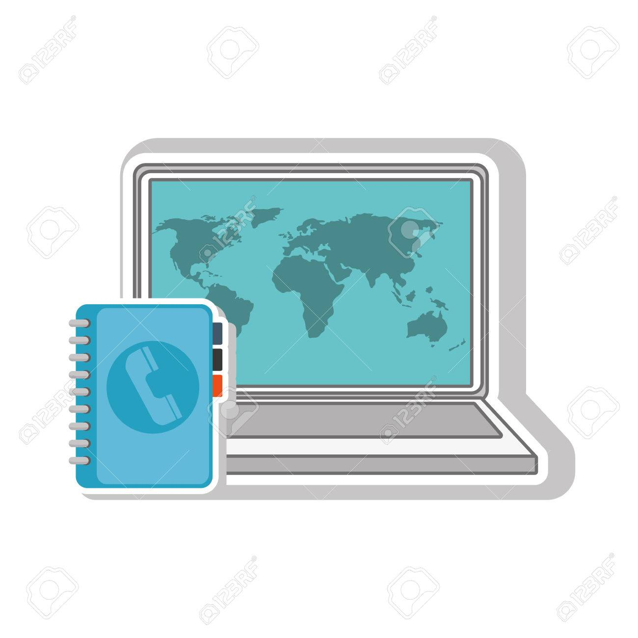 Laptop computer with world map wallpaper and directory book icon laptop computer with world map wallpaper and directory book icon vector illustration stock vector gumiabroncs Image collections