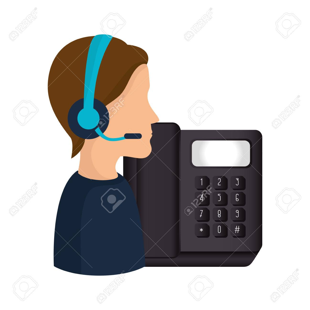 Avatar Man With Headset And Telephone Icon Call Center And Customer Royalty Free Cliparts Vectors And Stock Illustration Image 64682626