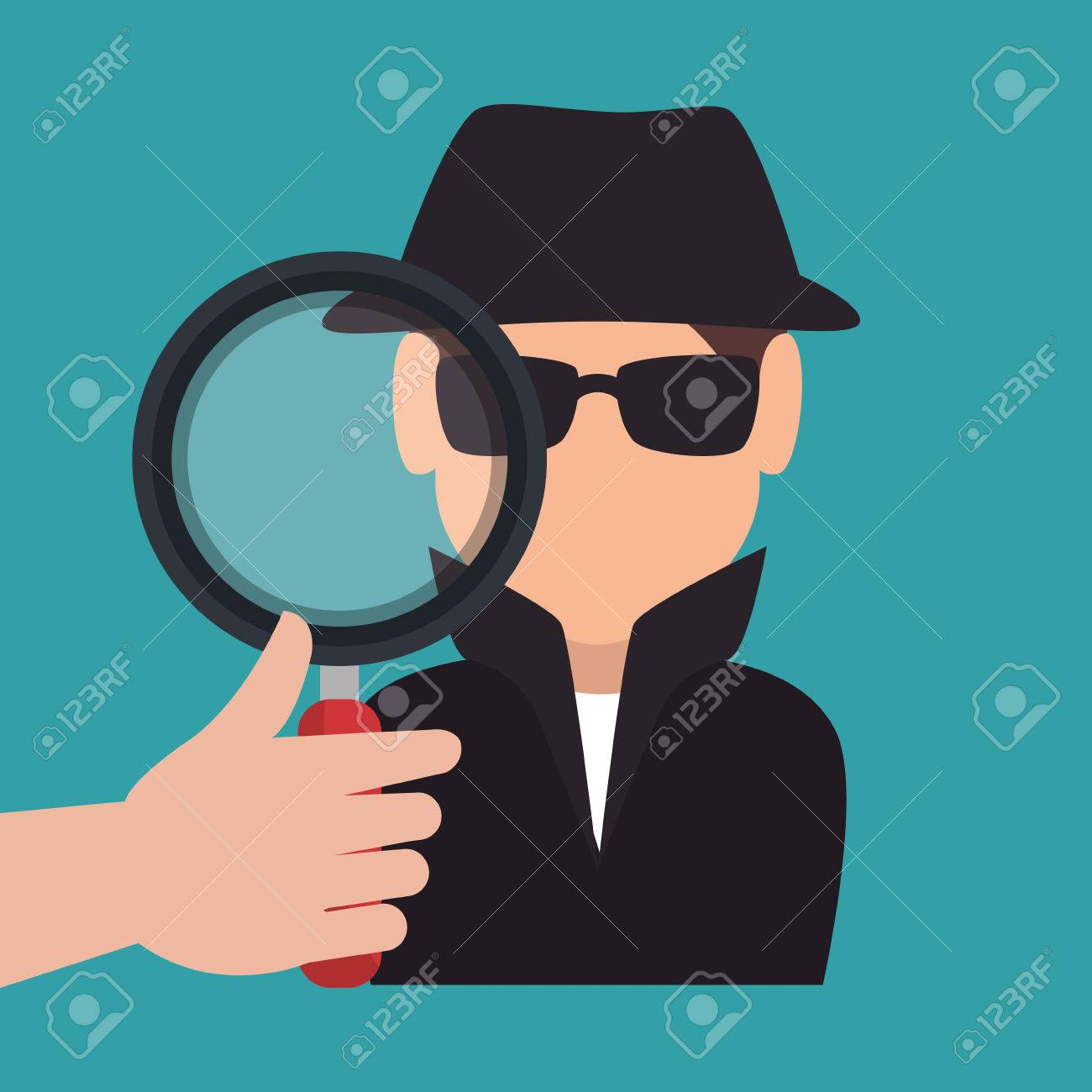 hand holding magnifying glass and avatar hacker criminal man
