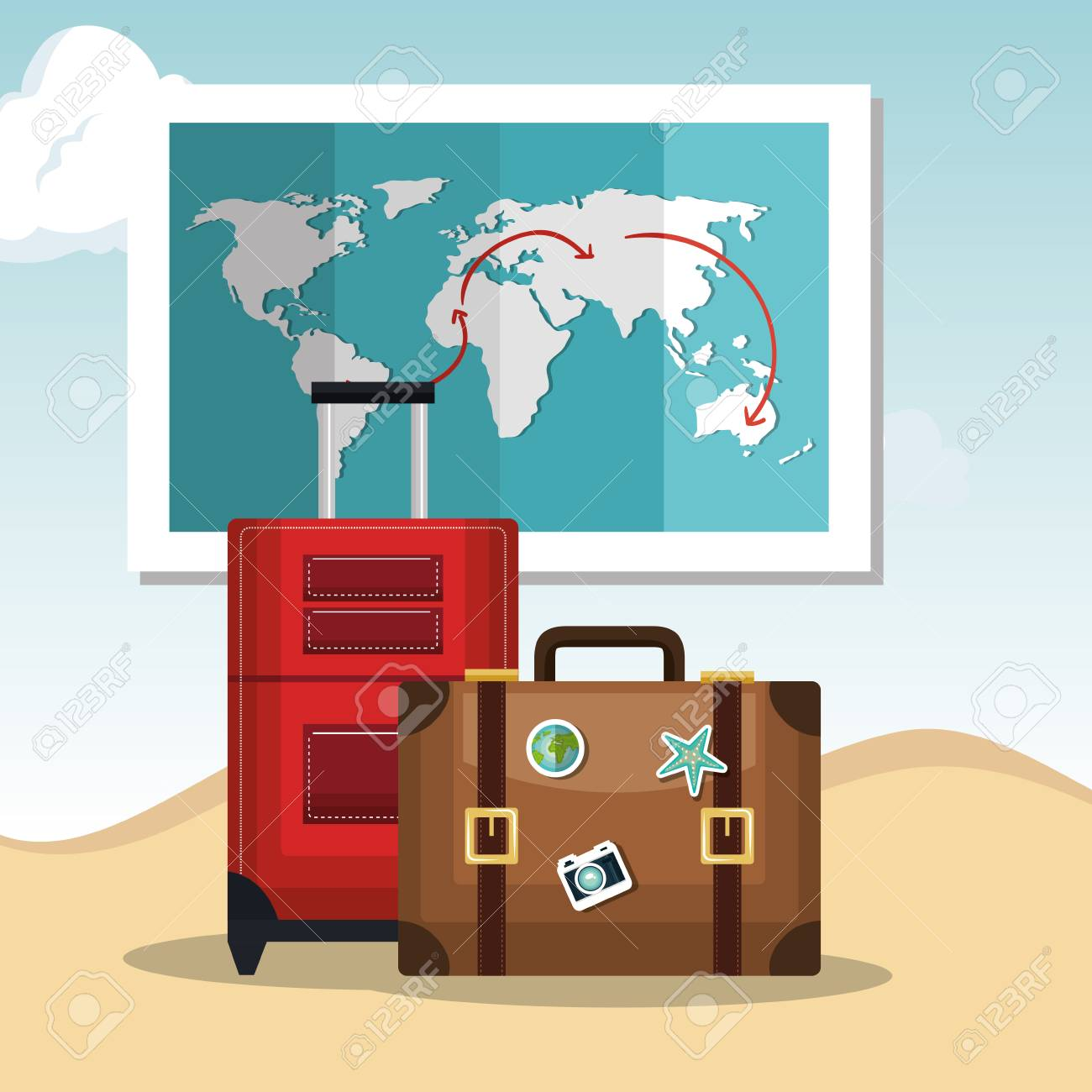 Travel suitcases and world map over beach background summer travel suitcases and world map over beach background summer vacations design vector illustration stock gumiabroncs Image collections