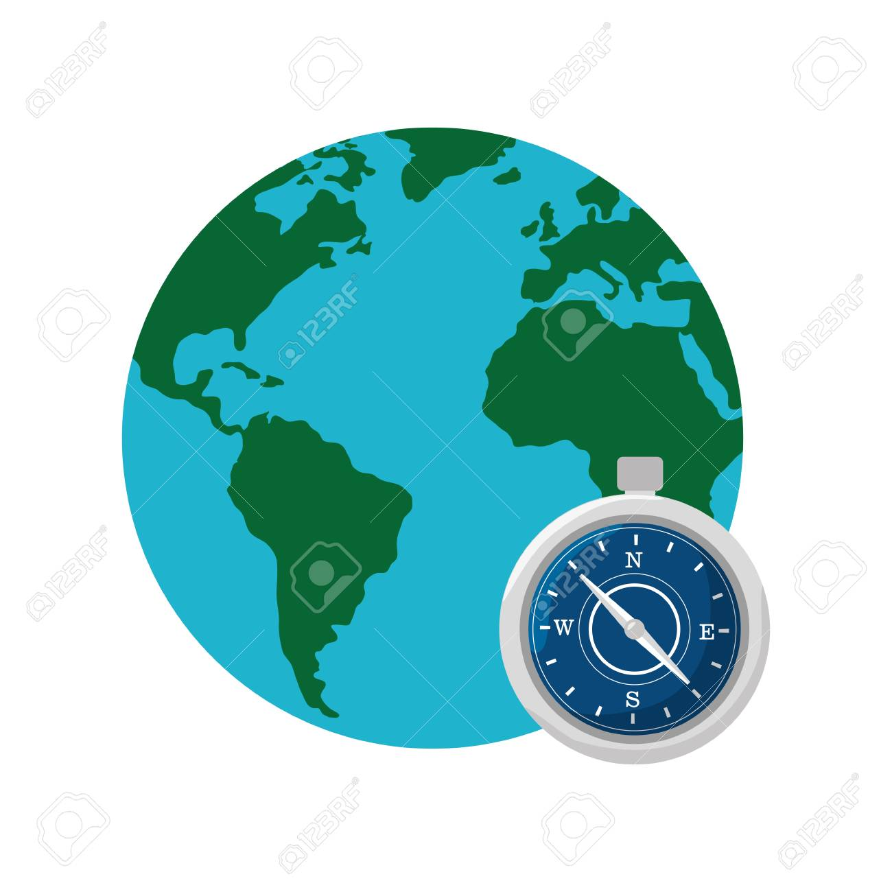 World map globe with compass device icon over white background vector world map globe with compass device icon over white background vector illustration gumiabroncs Image collections