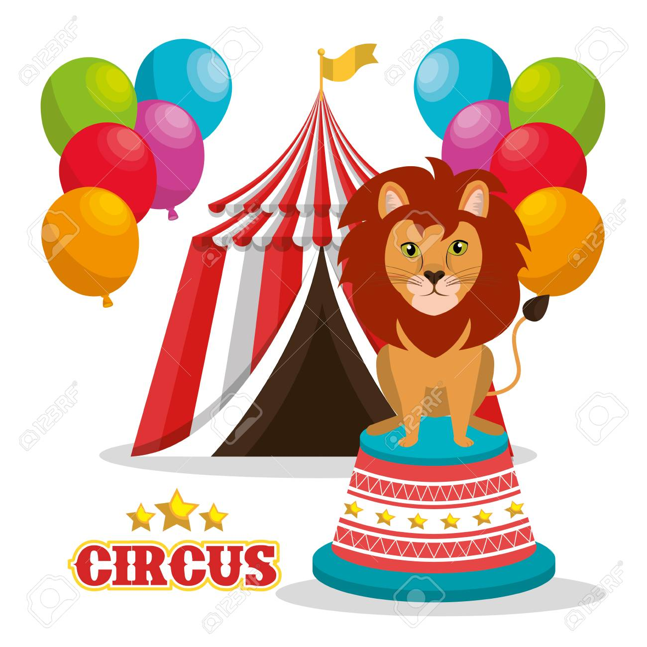 Lion And Red And White Striped Tent Circus Icon With Balloons