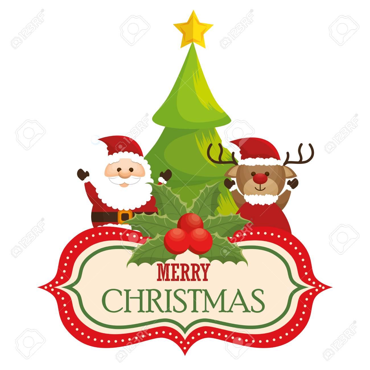 グリーティング カード クリスマス サンタさんトナカイと松のベクトル イラスト Eps 10のイラスト素材 ベクタ Image
