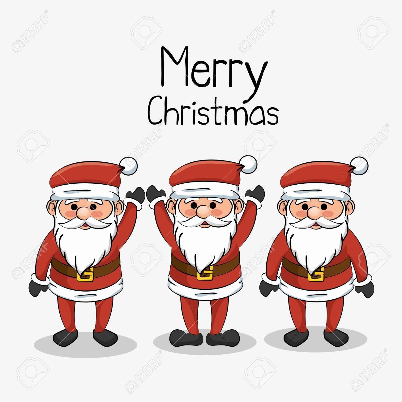 Photo De Noel Drole Bonheur, Joyeux Noël, Ensemble, Père Noël, Drôle, Vecteur