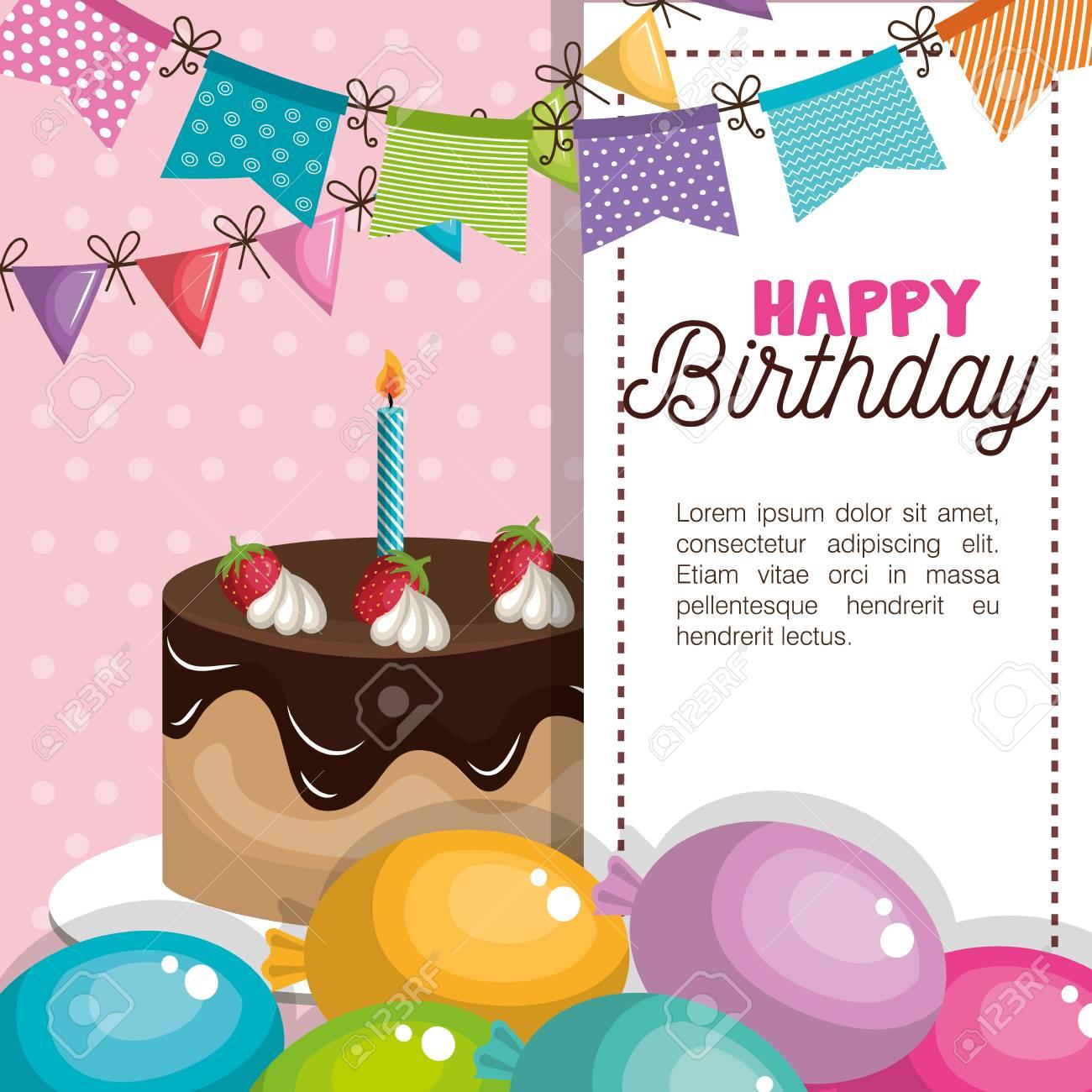 happy birthday invitation card vector illustration design - 64572179