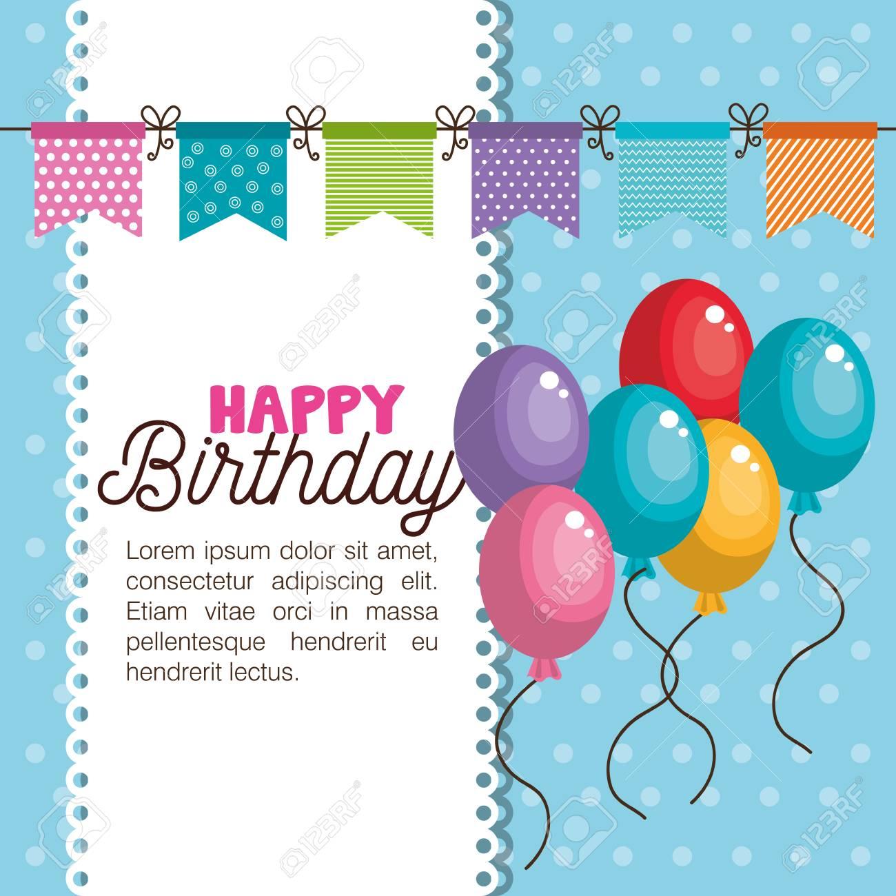 Happy Birthday Invitation Card Vector Illustration Design