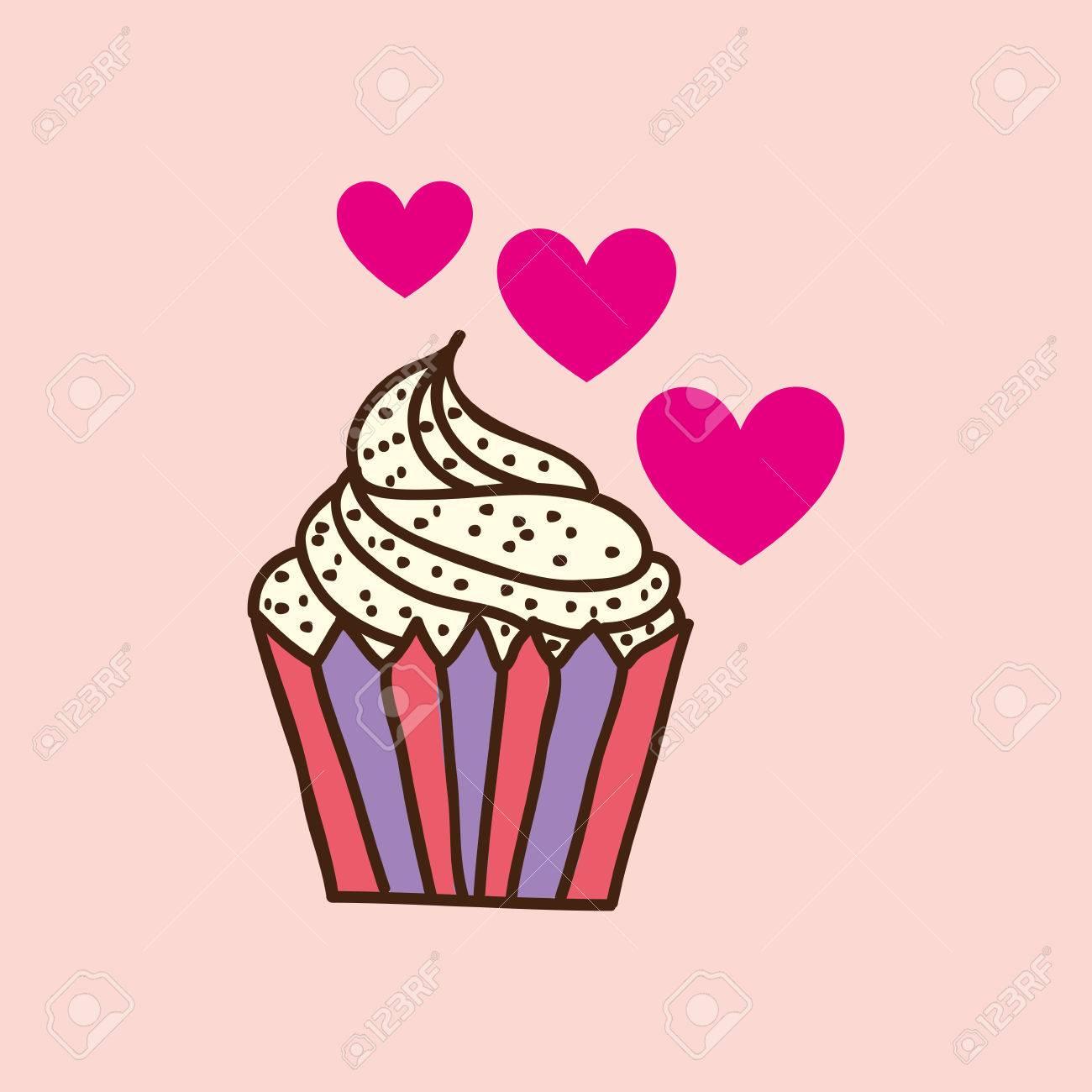 Cupcake De Coeur Rose Dessin Anime Chips Icone Illustration