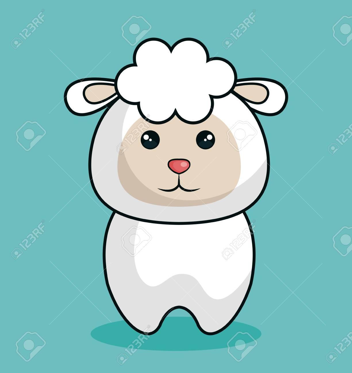 かわいい羊ぬいぐるみアイコン ベクトル イラスト デザインのイラスト