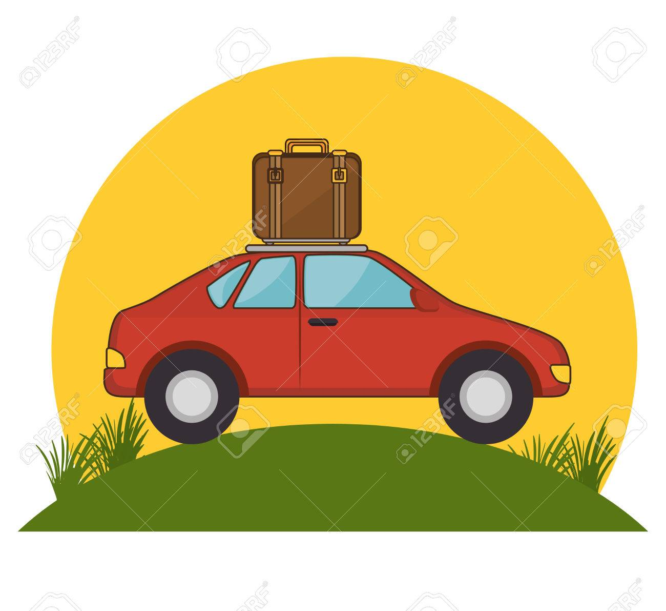 Red Car Suitcase Travel Grass Sun Vector Illustration Stock