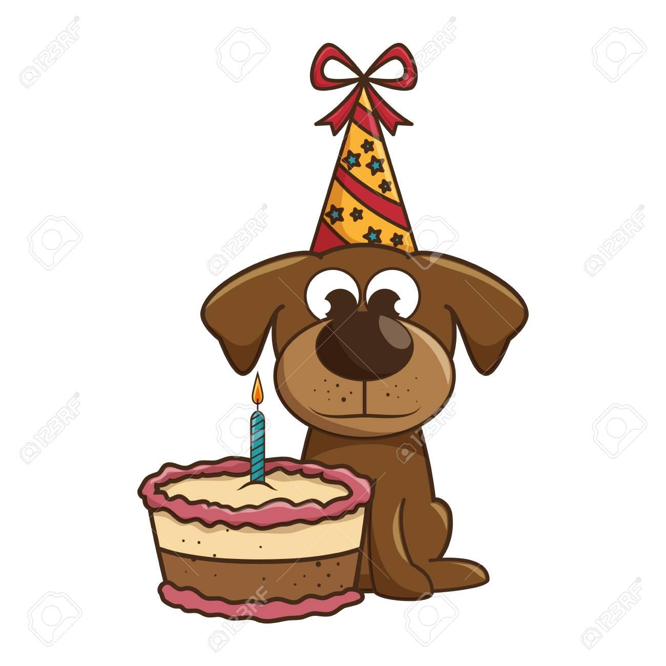 Dog Mascot With Cake Birthday Vector Illustration Design Royalty