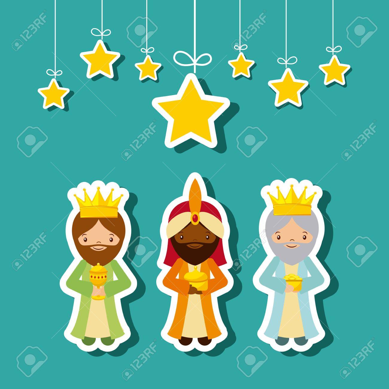 Dibujos Animados Lindo Reyes Magos Con Las Estrellas Decorativas Que