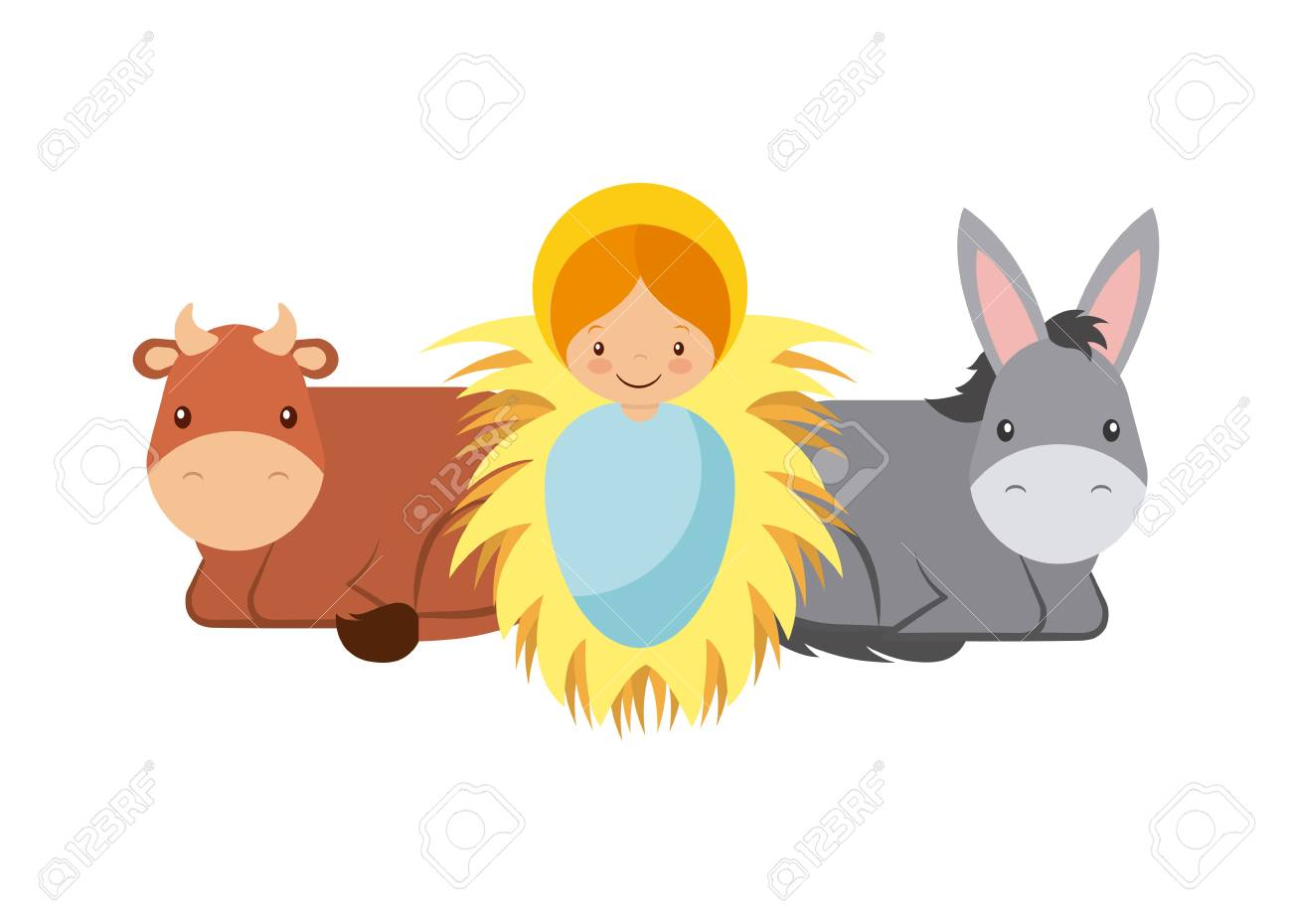 Cute cartoon baby jesus with donkey and cow animals over white cute cartoon baby jesus with donkey and cow animals over white background colorful design voltagebd Images