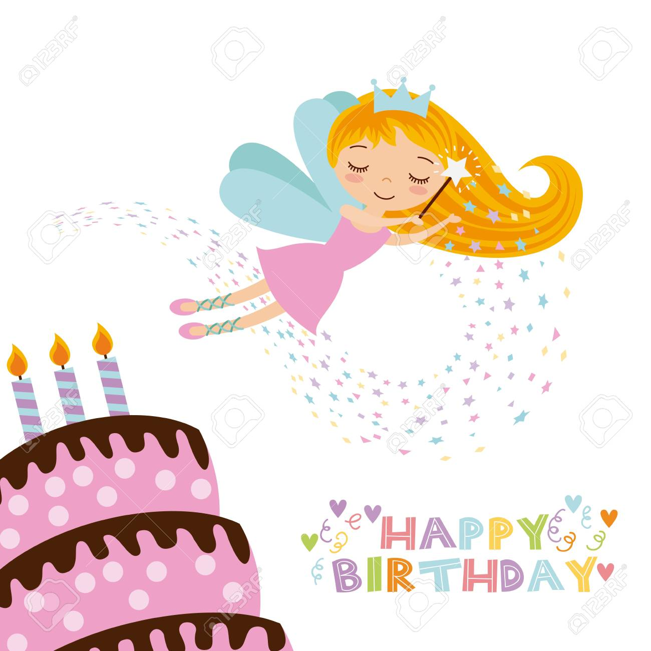 Happy Birthday Card With Cute Fairy Girl And Cake With Candles