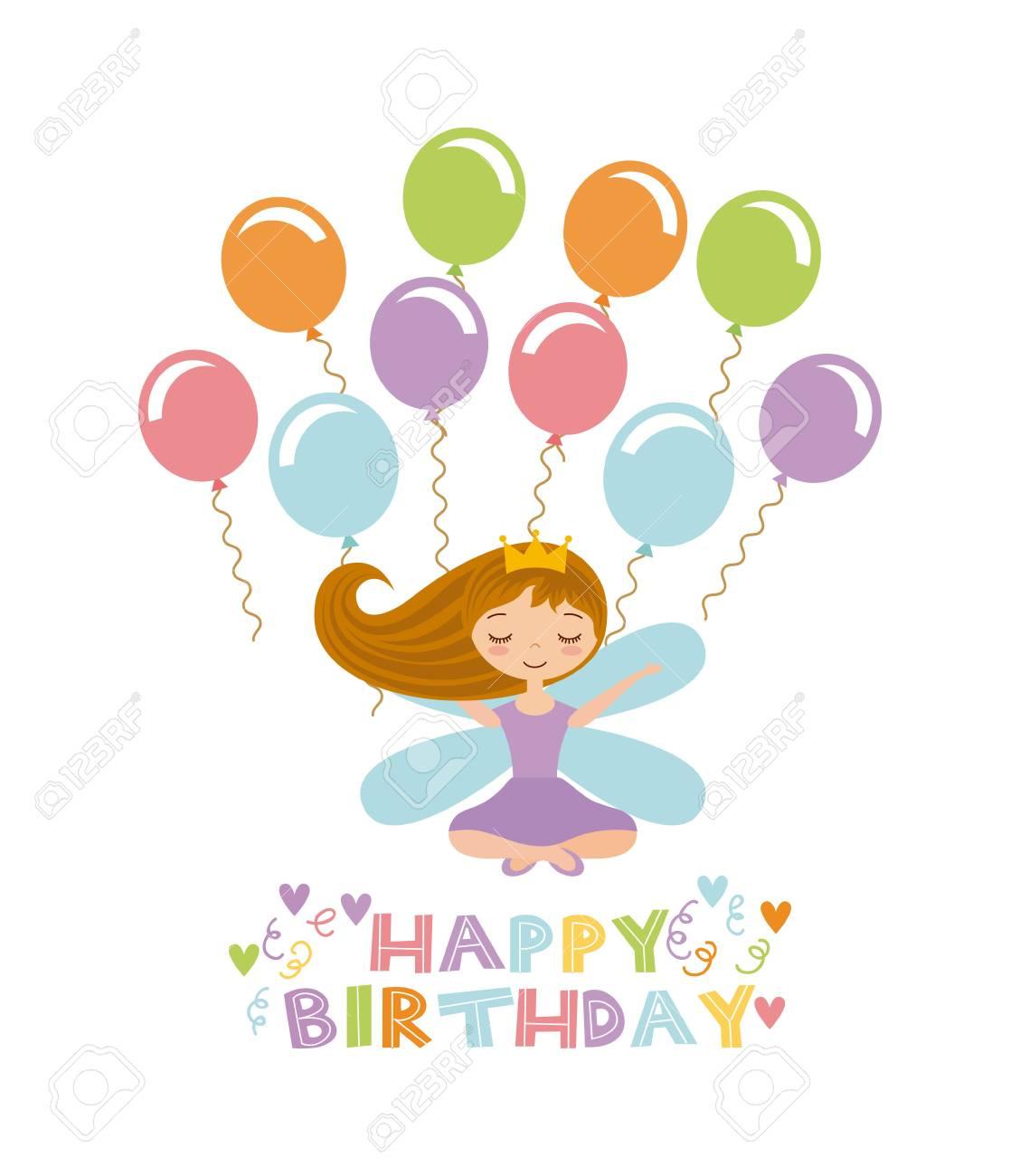 carte joyeux anniversaire fille Carte De Joyeux Anniversaire Avec Icône Fille Et Ballons Mignonne