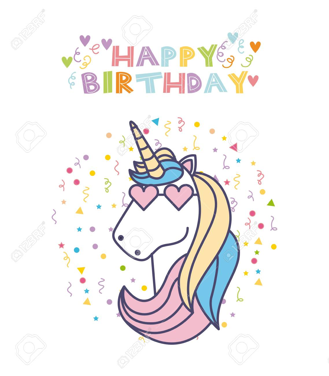 Happy Birthday Card With Cute Unicorn Icon Over White Background Colorful Design Vector Illustration