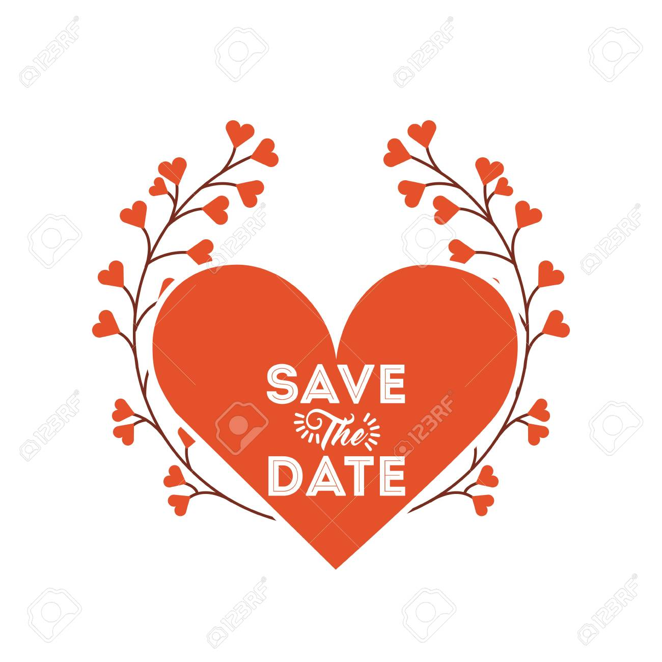 8c9f2eba4a00d save the date card with red heart and flowers wreath over white..