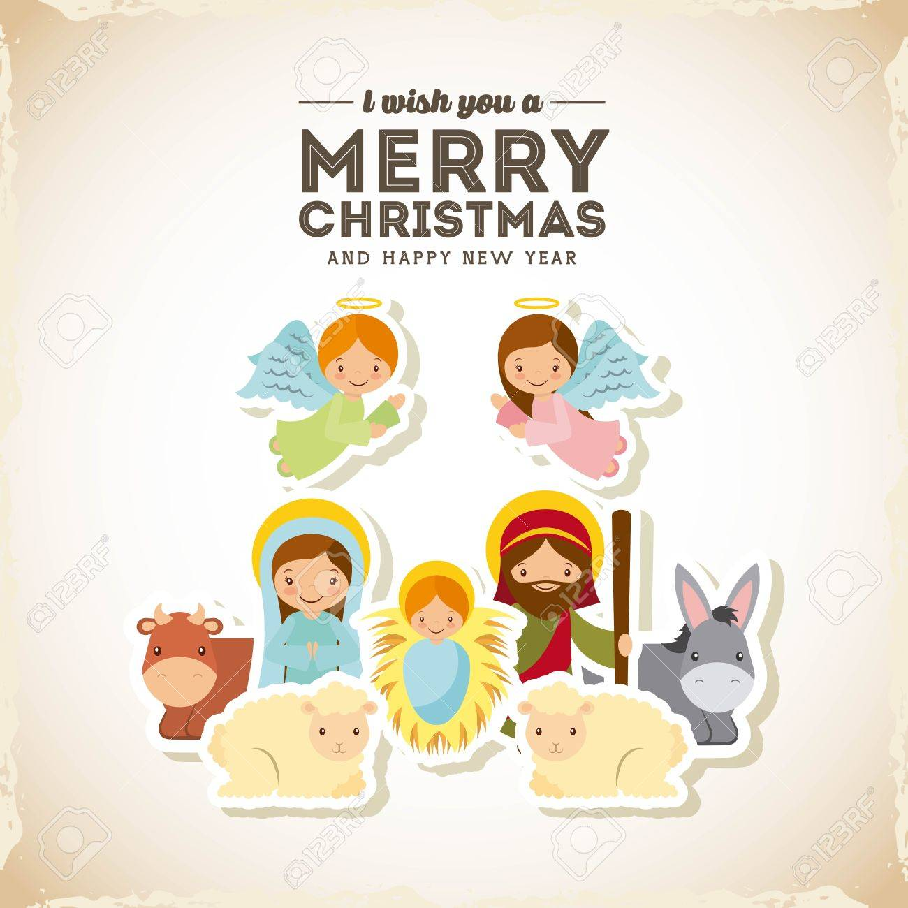holy family manger scene merry christmas and happy new year card colorful design vector
