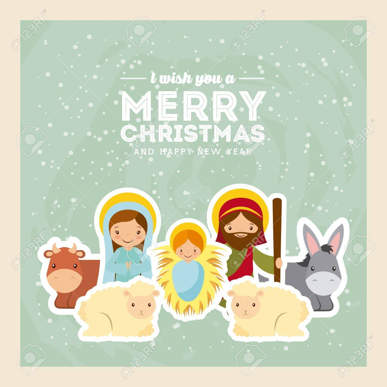 card of holy family manger scene with animals merry christmas and happy new year colorful