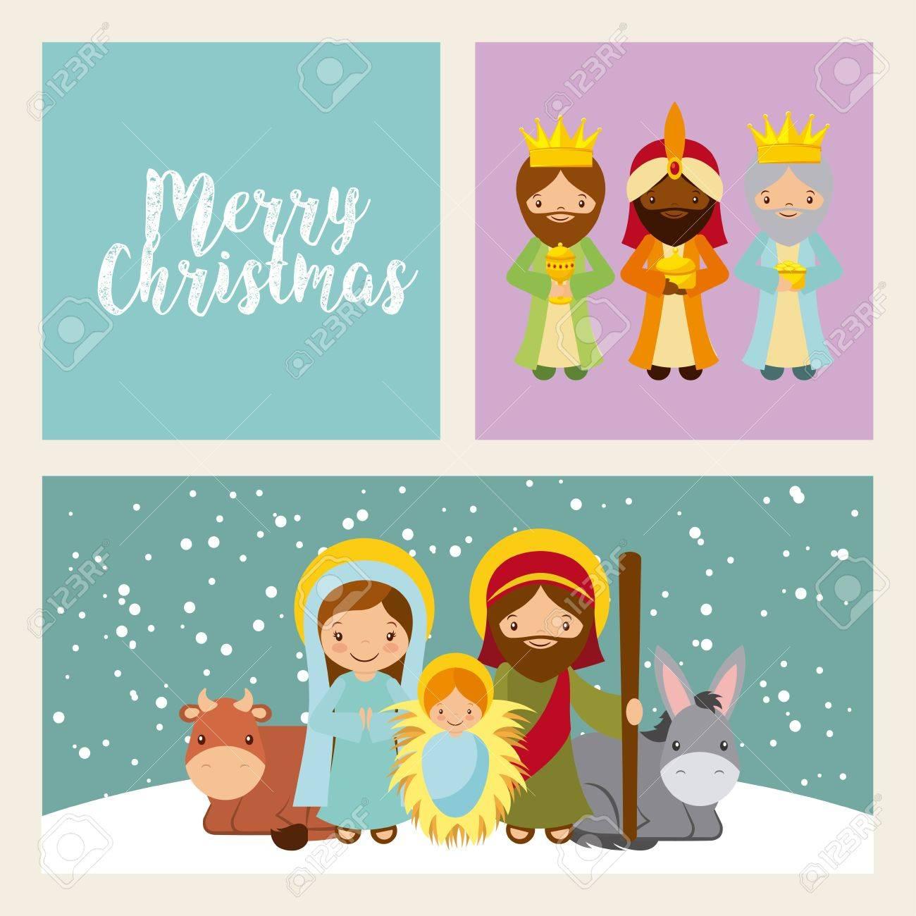 Holy Family Manger Scene. Merry Christmas Card Colorful Design ...