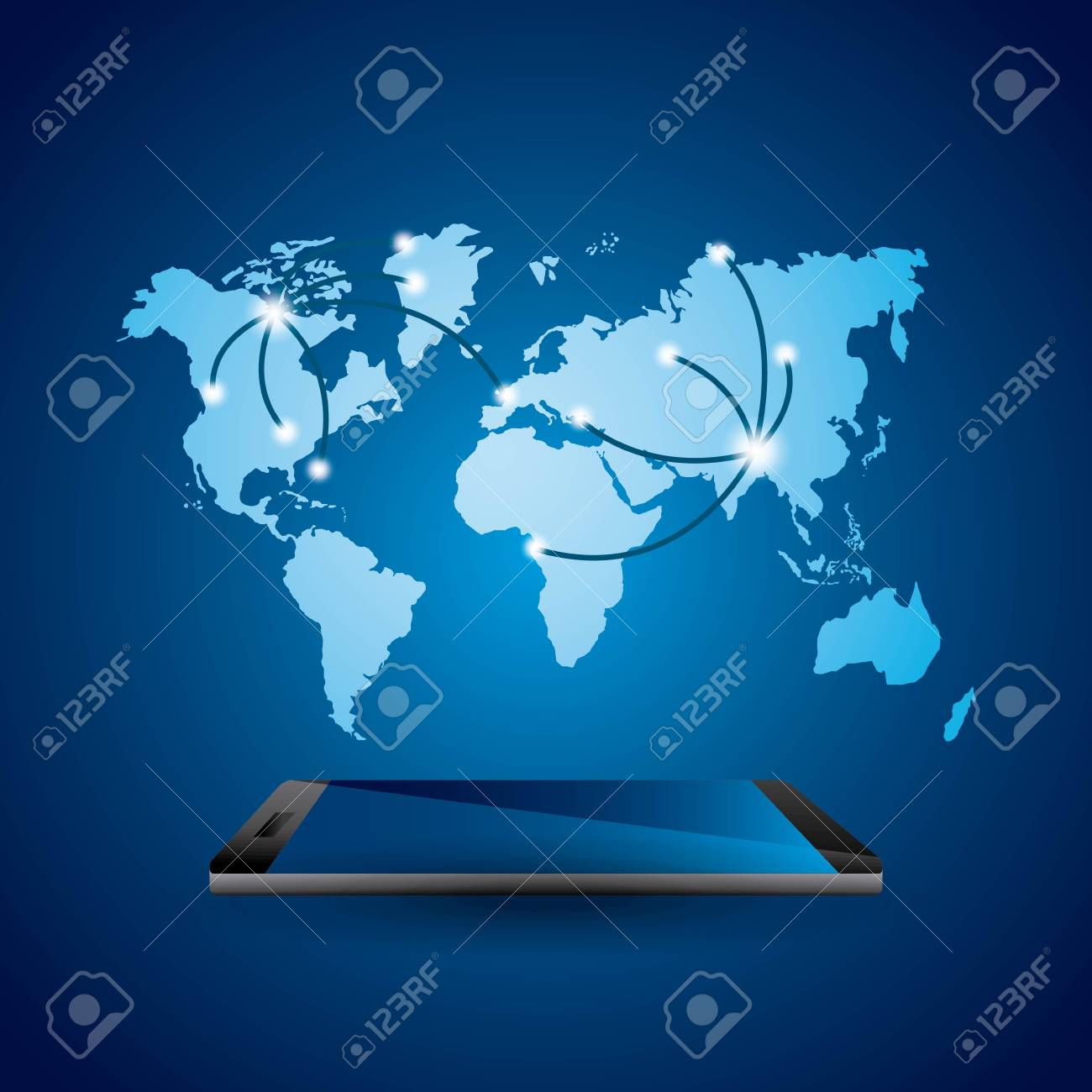 Smartphone devie with world map over blue background mobile smartphone devie with world map over blue background mobile world design vector illustration stock gumiabroncs Gallery