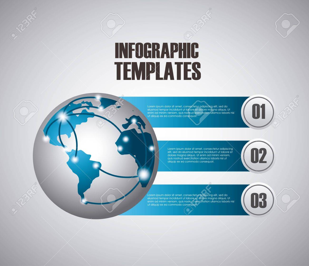 infographic presentation template with numbers with earth planet, Presentation templates