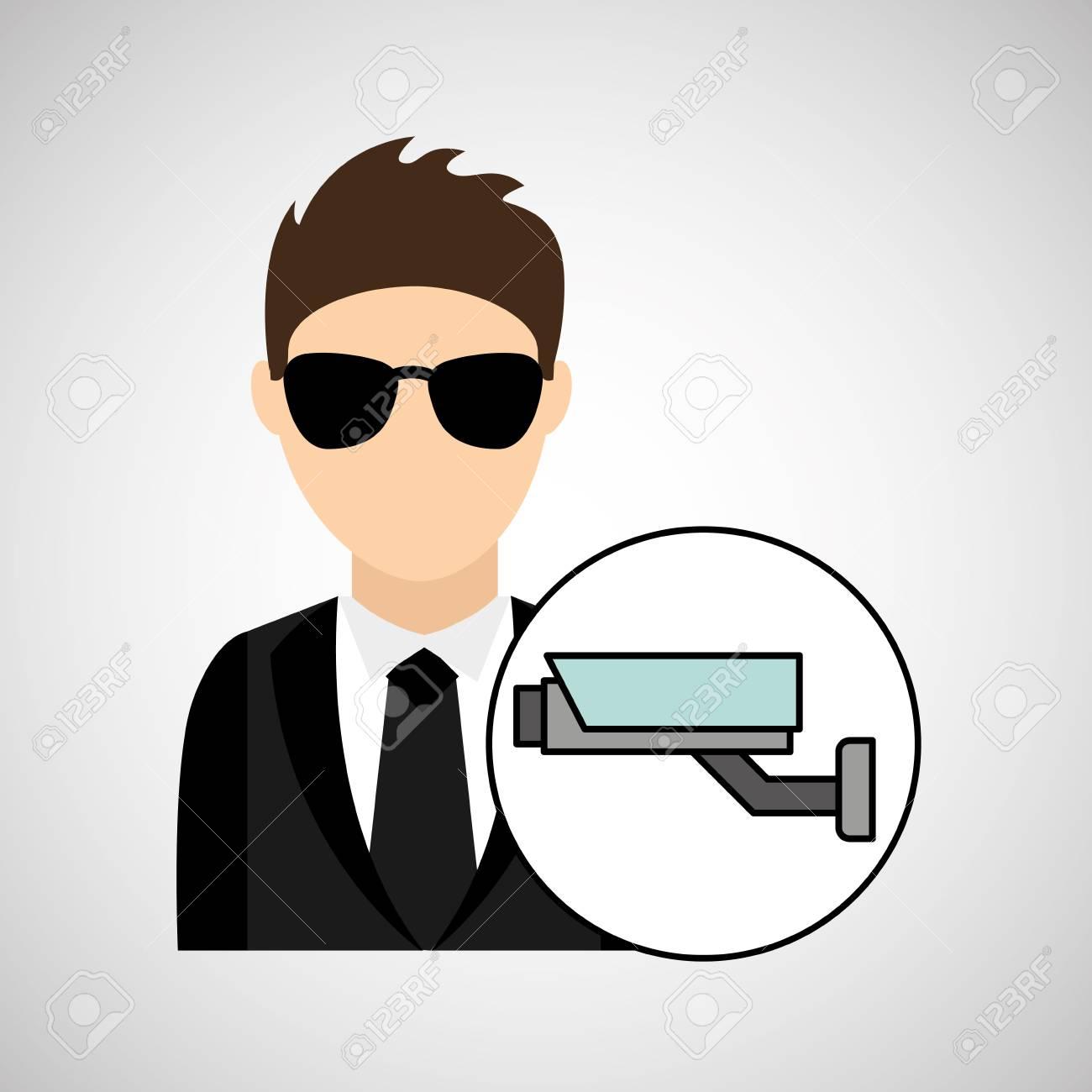 Man Cartoon Digital Technology Security Surveillance Camera Vector