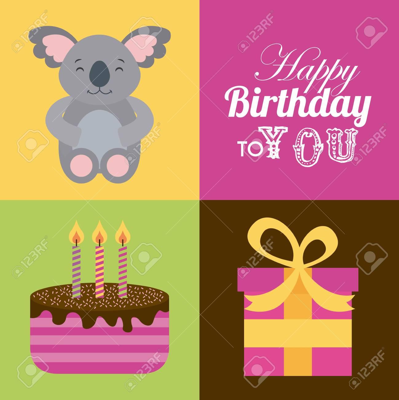 Carte De Joyeux Anniversaire Avec Koala Mignon Et Gâteau Avec Des Bougies Et Une Boîte Cadeau Design Coloré Illustration Vectorielle
