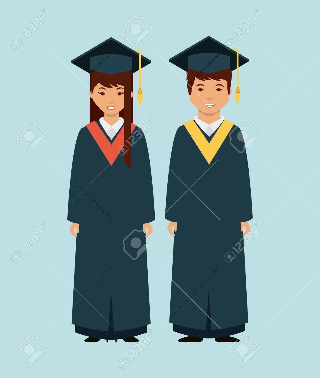 Cartoon Man And Woman Wearing A Cap And Gown Of Graduation Over ...