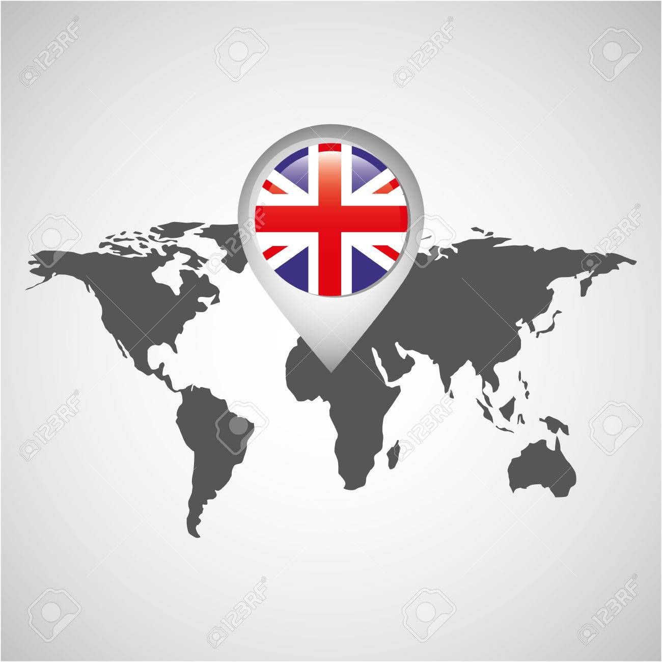World Map With Pointer Flag England Vector Illustration Royalty Free ...