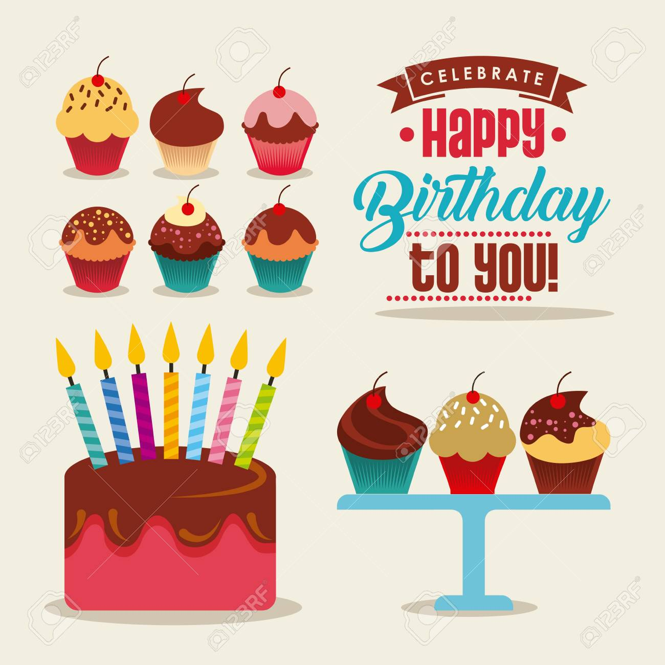 Happy Birthday Card With Sweet Cupcake And Cake With Candles