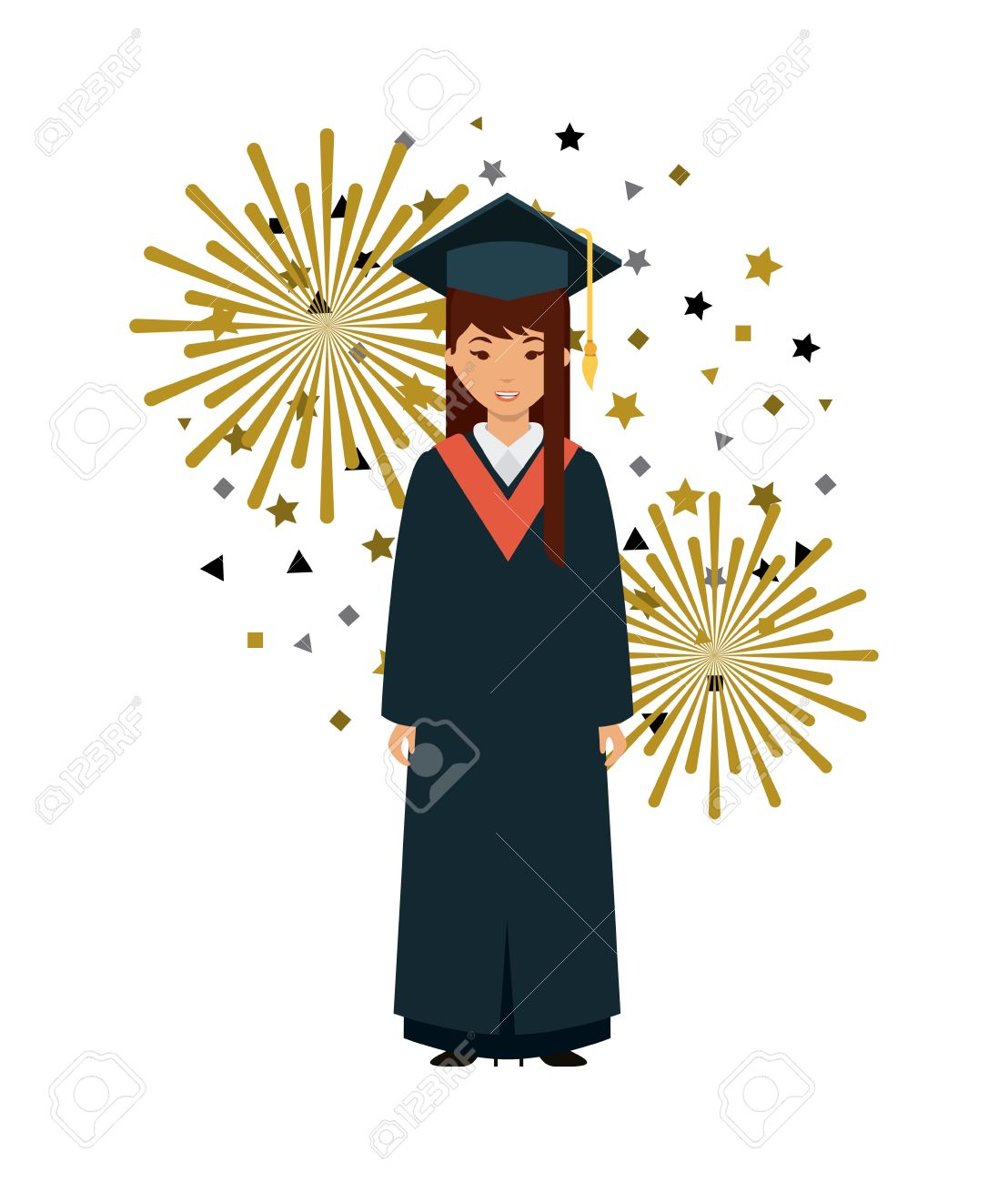 Cartoon Graduate Woman With Graduation Gown And Hat Icon Over White ...